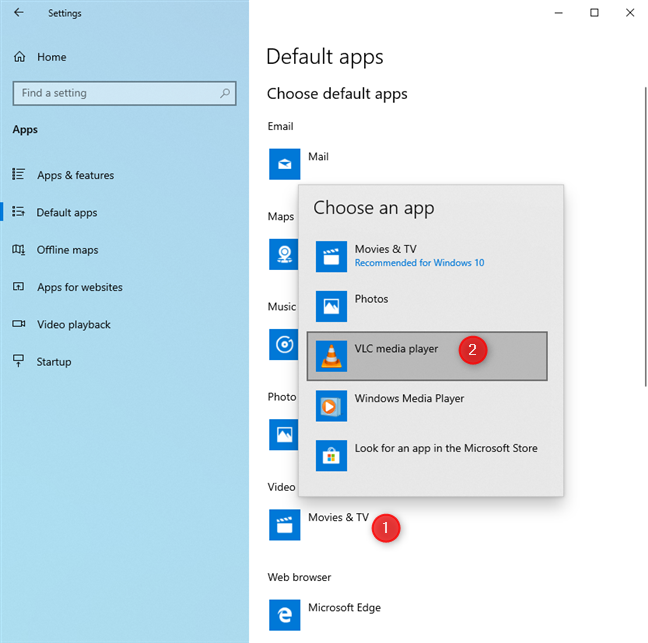 Set the default apps in Windows 10