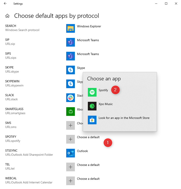 Choose the default apps by protocol