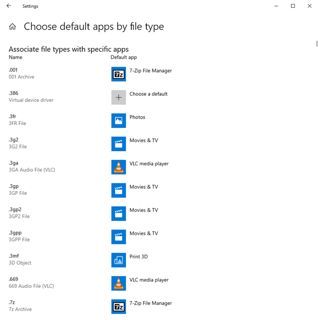 Change the default apps by file type
