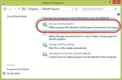 Windows 7, Windows 8.1, programs, defaults, file extensions, protocols, Default Programs