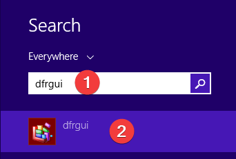 Search for dfrgui in Windows 8.1