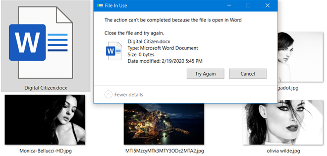 File In Use error, in Windows 10