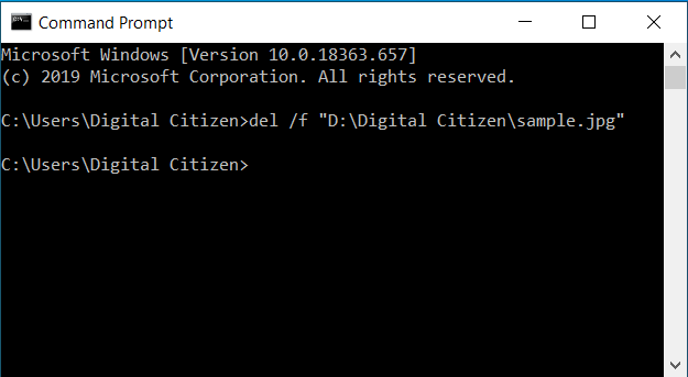 Delete a read-only file from the Command Prompt