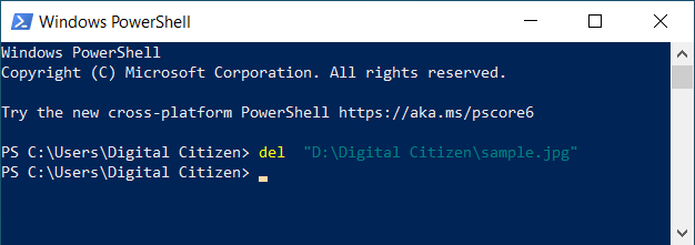 Delete a file from PowerShell