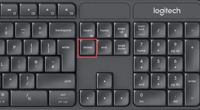 The Delete key on a standard keyboard