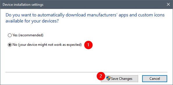Choosing not to let Windows download drivers automatically