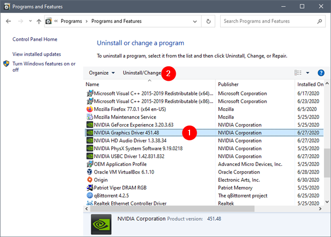 Removing the NVIDIA Graphics Driver from the Control Panel