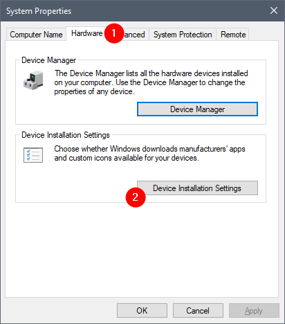 Device Installation Settings on the Hardware tab from System Properties