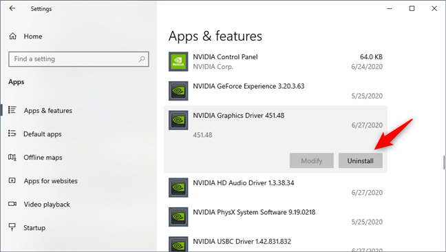 Removing the NVIDIA Graphics Driver from Windows 10