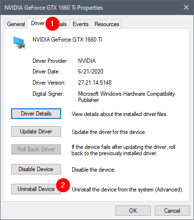 Choosing to Uninstall Device