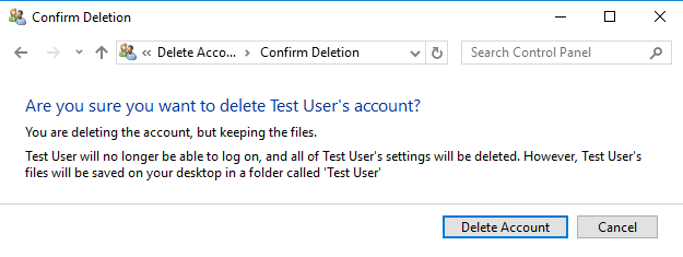 Windows, delete, user