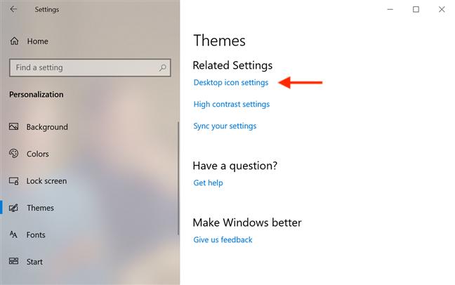 Access Desktop icon settings