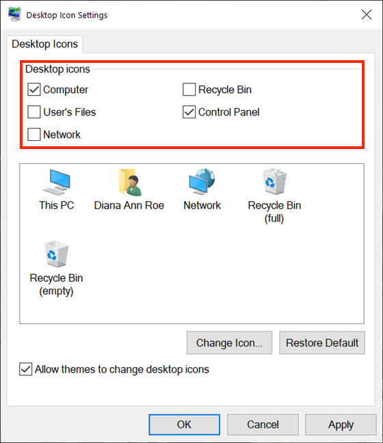 Uncheck the boxes to remove standard icons