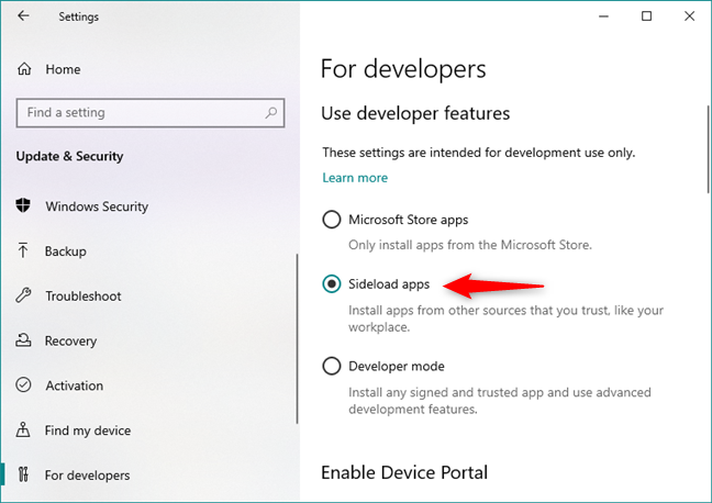 Enabling the Sideload apps feature in Windows 10