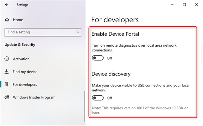 Device Portal and Device discovery
