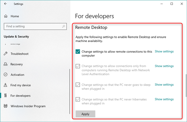 Easy access to Remote Desktop settings that are useful to developers