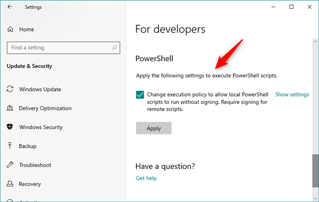 Easy access to a PowerShell setting that is useful to developers