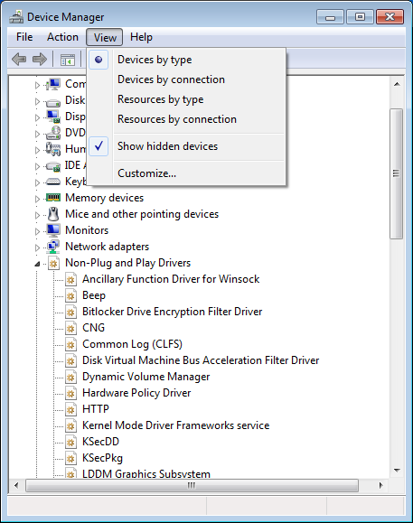 Device Manager, Windows