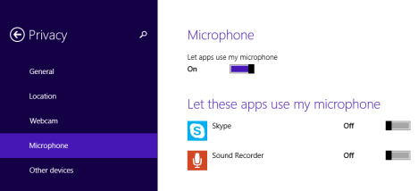 Windows 8.1, privacy, settings, devices, webcam, microphone