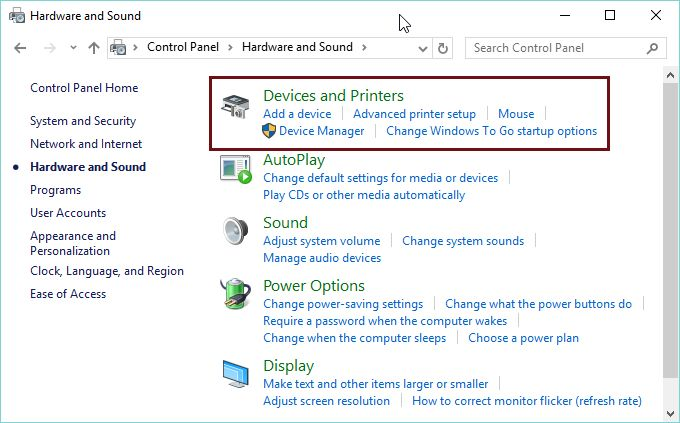Devices and Printers, Control Panel, manage, configure, remove