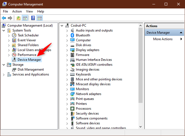 Device Manager in Computer Management