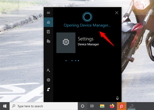 Asking Cortana to open the Device Manager