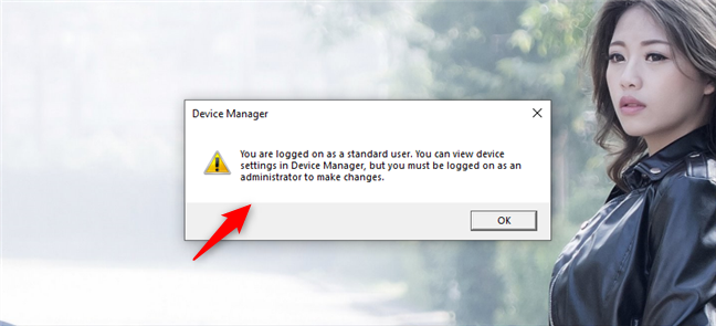 Opening the Device Manager in Windows 10 using a standard user account