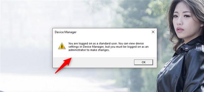Abrir el Administrador de dispositivos en Windows 10 usando una cuenta de usuario estándar