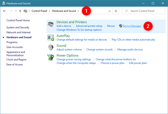 Device Manager shortcut in Control Panel