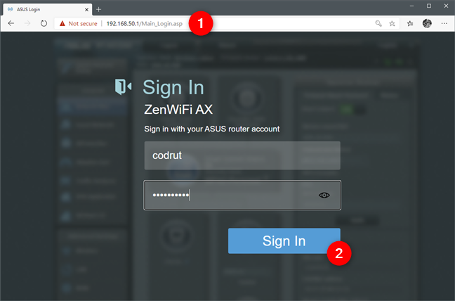 The web interface login screen of a router