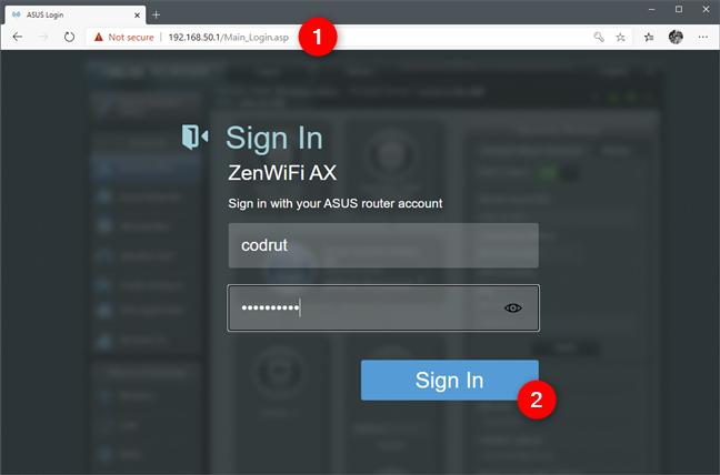 La pantalla de inicio de sesión de la interfaz web de un enrutador