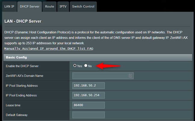 DHCP server enabled on a router