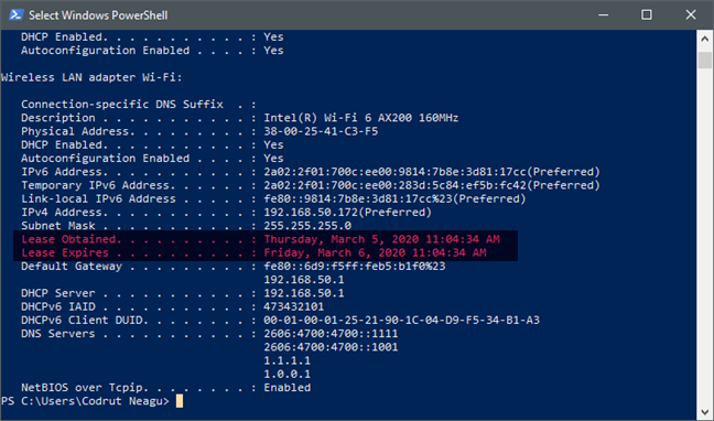 Se renovó el tiempo de concesión de DHCP de un adaptador de red