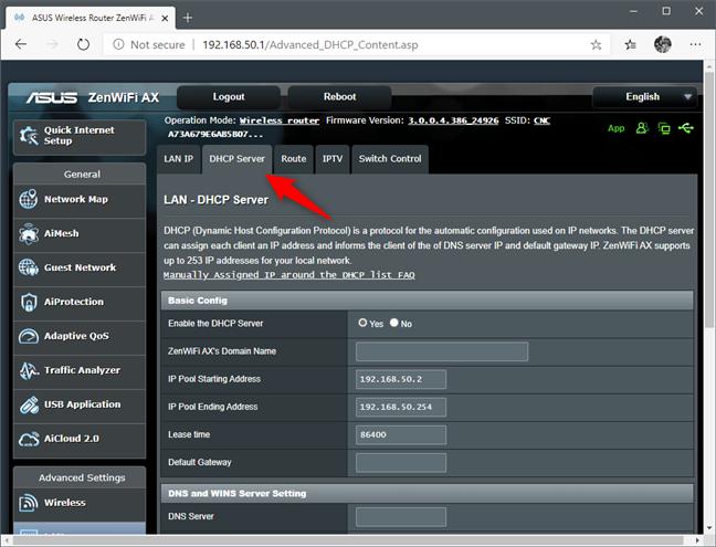 La configuración del servidor DHCP de un enrutador