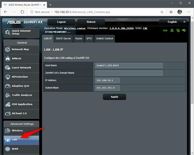 La configuración de LAN de un enrutador