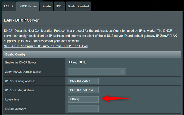 The DHCP lease time setting on a router