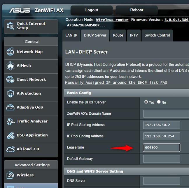 Cambiar el tiempo de concesión de DHCP de un enrutador