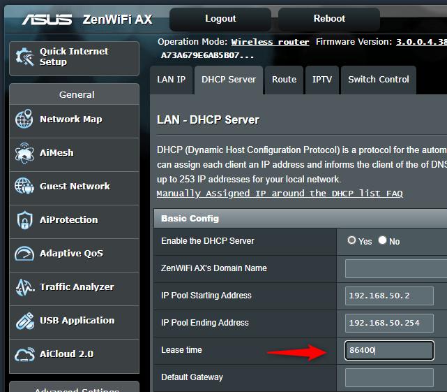 La configuración del tiempo de concesión de DHCP en un enrutador