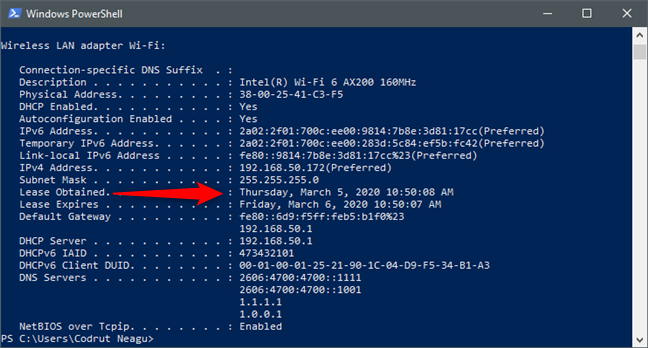 The DHCP Lease Obtained date and time for a network adapter