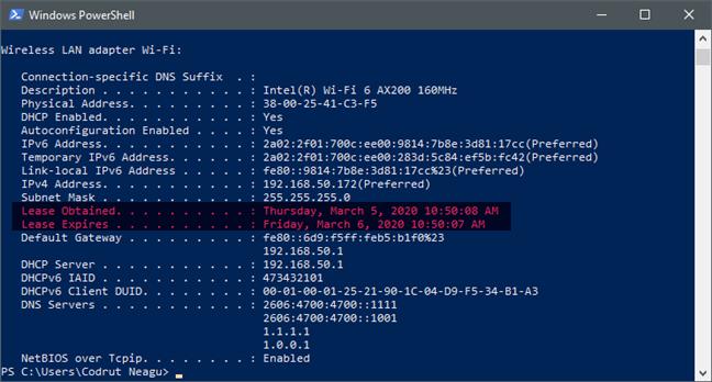 Cómo ver el tiempo de concesión de DHCP de una PC con Windows 10