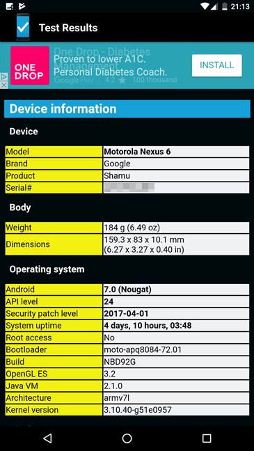 Android, diagnose, health, device, smartphone, tablet
