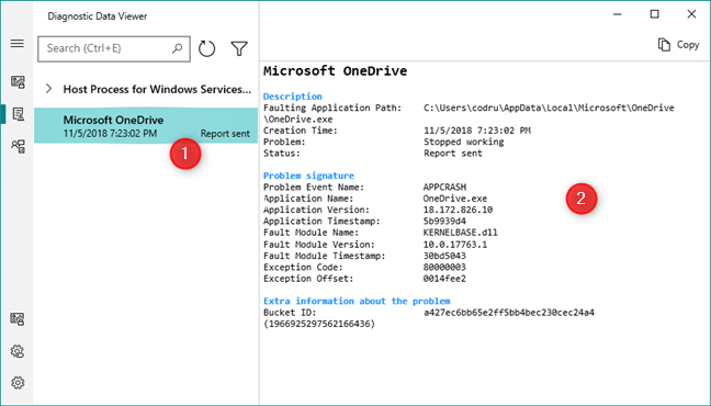 Viewing the details of problem reports in Windows 10