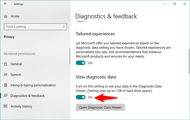 Turning on the View diagnostic data switch in Windows 10