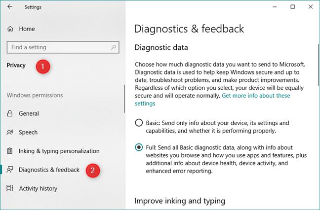 The Diagnostic & feedback settings in Windows 10