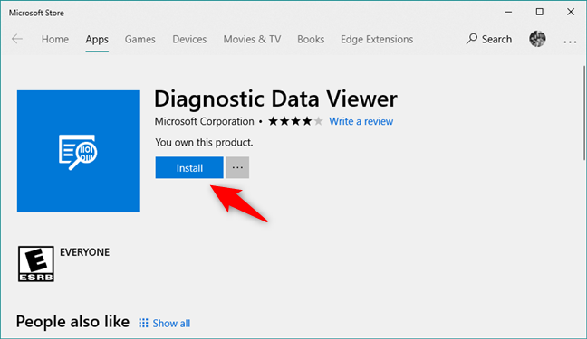Installing the Diagnostic Data Viewer app from the Microsoft Store
