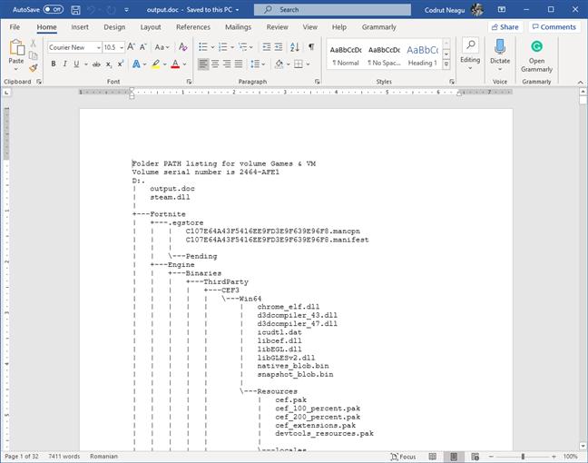 The folder tree inside a document file