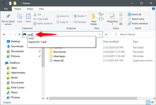 Opening Command Prompt at the location of the folder