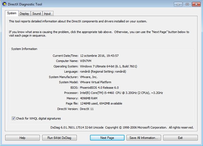 DirectX Diagnostic Tool, dxdiag, Windows