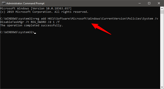 Disable Task Manager from the Command Prompt