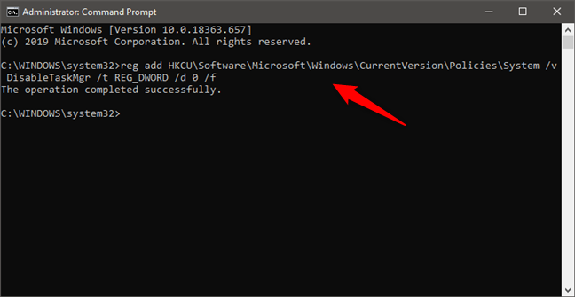 Enable Task Manager from the Command Prompt